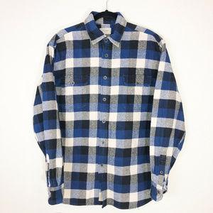 JACHS Blue Plaid Heavyweight Flannel Button Front